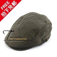 Tenji bush-rope 100% cotton canvas male cap hat plain all-match brief beret