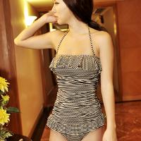 Let - hot spring swimwear bikini triangle stripe dress small push up swimwear female