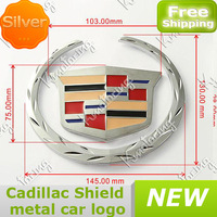 New Shield Sticker With 3D Metal Badge for Cadillac CTS Deville Eldorado leaf Crest Wreath Plated For Chrome Emblem