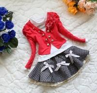 2013 Free Shipping Girls Spring Tutu Dress Sets Children Clothing Sets Lace dress+Coat 3 pieces Sets 4sets/lot
