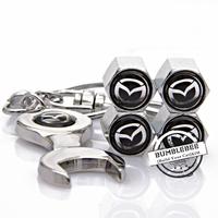 Free shipping!(4PCS)metal Tire Valve Stem Caps easy DIY decoration,Car Logo emblem   Tire Valve Caps for MAZDA,VC187