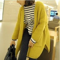 New Arrive ! Women 2013 Autumn Winter Fashion Korean Style Thick Batwing Sleeve Loose Pocket Cardigans Long Knitted Sweater
