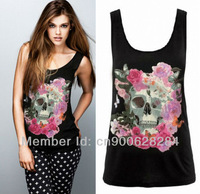 New womens Pinup Rockabilly Punk Skull Top Sleeveless Vest t-shirt tee S M L