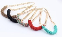 COL069 2014 New Luxury Unique Acrylic Beaded Chunky Gold Statement choker Necklace for women Collier Colares