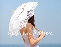 Free Shipping White And Beige Lace Umbrella Wedding