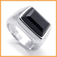 R0006 Mens Black Stone Silver Stainless Steel Band Ring U.S. Size 8 9 10 11 12