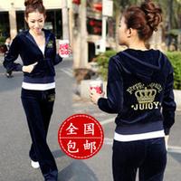 free shipping Spring and autumn sweatshirt set embroidery velvet casual set velvet sportswear set Women Fashion sport suit