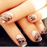 free shipping,20pcs/lot Finger sticker nail art accessories nail polish oil applique white lace solid color nail art supplies