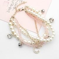 Luxury elegant bracelet diamond letter pink crystal pearl multi-layer fashion bracelet accessories female