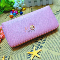 1PCS Free Shipping New Fashion Genuine Leather Wallent Candy Color with Golden Zipper High Rank Purse for Daily Use and Party