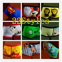 Christmas gift 10PCS/Lot Only 3.5$/PCS High quality 100% cotton cartoon men's boxer / men underwear (Mix 22Styles) Lovely&Sexy