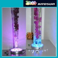 Free shipping 5pcs/lot Lithium battery powered Rechargeable RGB color changing Crystal centerpiece light bases