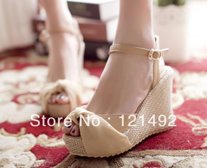 Summer new Korean ribbon to wear method Bow sandals slope with the fish head high-heeled shoes women muffin shoes(China (Mainland))