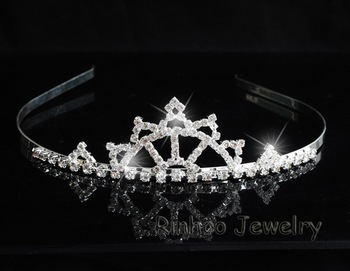 Beautiful Classic Women Hair Accessories Acrylic HeadBand 925 Silver Plating Rhinestone Wedding Crown size:120*35mm  #19666