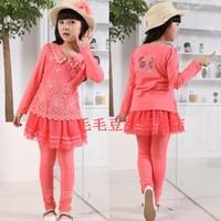 Free shipping 2013 new autumn girls' suits, girls dresses girls lace chiffon dress