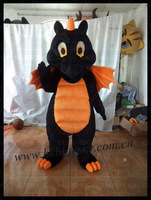 quality orange and black dragon mascot costume,black and orange dinosaur mascot costume