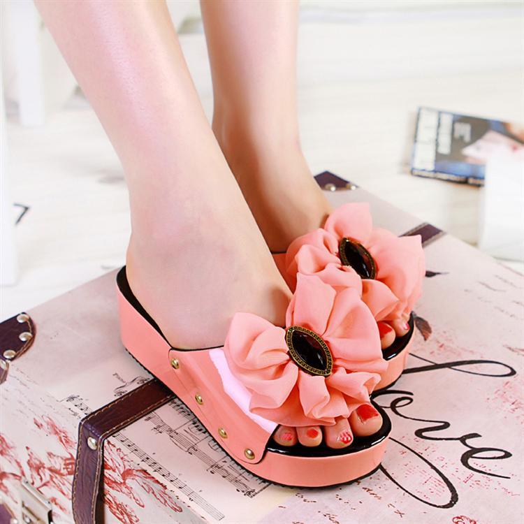 Sweet big flower platform shoes wedges pink open toe slippers gentlewomen women's shoes(China (Mainland))