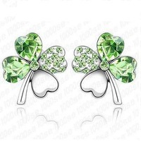 Free Shipping Crystal lucky four leaf clover stud earring female anti-allergic accessories fashion