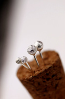 Free Shipping 925 pure silver jewelry fresh brief pin earring exquisite small all-match silver stud earring