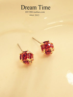 Free Shipping Red gem zircon spherical small circle stud earring female earrings exquisite elegant accessories 14k gold