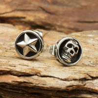 Free Shipping Fashion vintage pentacle symmetry male skull stud earring lovers titanium stud earring accessories