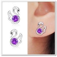 Free Shipping 925 pure silver earrings amethyst stud earring Women fashion earring anti-allergic new year gift