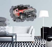 Car crash into house 27.5'' * 39''---Creative Vinyl Wall Sticker ---Life needs breakthrough