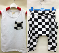 wholesale (5pcs/lot)-100%cotton children's clothing letter plaid poctet boy's vest &pants 2pcs set