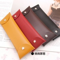 Free shipping 2151 leather pencil case cosmetic bag stationery pencil case stationery bags fashion elegant brief pencil case