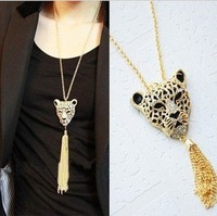 Free shipping for MIn order $10(mix order )Fashion rhinsetone leopard head Tassel Necklace Long pendant  sweater chain  N0257