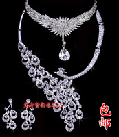 Peacock necklace the bride accessories hair accessory wedding jewellery wedding dress accessories three pieces set