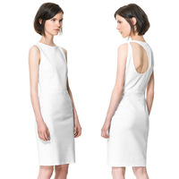 Back irregular haoduoyi placketing one-piece dress white sleeveless slim high-elastic 6 full