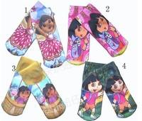 SPECIAL OFFER ! ! ! Free shipping Hot sale socks kids socks baby socks Dora cartoon design 15CM 4 colours selection