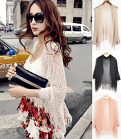 Free Shipping, Fashion Summer Multi-functional Fringe Hollowed Women Wrap Beach Cover Scarf Knitwear 5 Colors for Woman