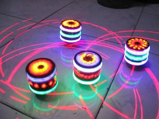Wool spinning top music flash luminous spinning top colorful spinning top ring laser transmitter