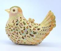 Free Shipping! Unique Bird Shaped Gold Crystal Evening Purse Fashion Party Bag Swarovski Clutch Bag S08124