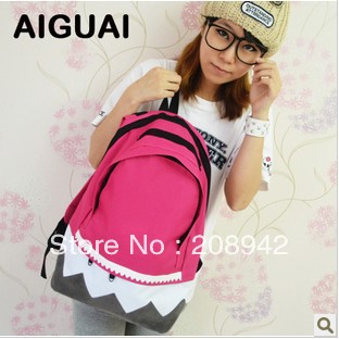 Best Seeling!!factory price women wavy nylon laptop bag backpack lady school bag Free Shipping