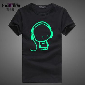 Light-emitting luminous t-shirt earphones hip-hop short-sleeve T-shirt