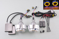 Free Shipping Angel Eyes Projector Fog Double Lights Lens Right Driving + 5000K H1 55W HID Ballasts[QP815-R]