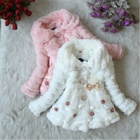 ZX117,Freeshipping,2013 New !!children thick coat fashion girls flower fur jacket winter kids clothes Wholesale And Retail