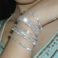 European explodes very artificial crystal bracelet single row drilling elastic bracelet