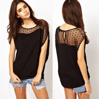 Womens asymmetrical o-neck t-shirt with dot print net patchwork for wholesale and freeshipping