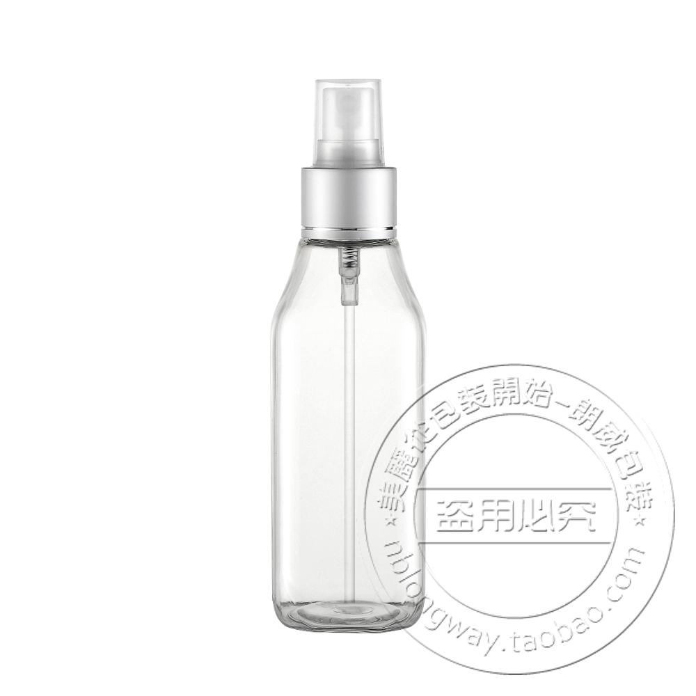 Free Shipping Transparent square spray bottle 100ml plastic bottle goglet pattern foil spray bottles perfume 20pcs/lot(China (Mainland))