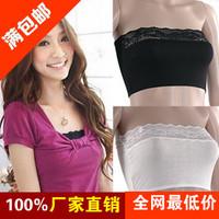 9032 modal tube top spaghetti strap lace decoration basic tube top bra plus size underwear tube top  free shipping