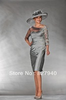 Gray taffeta mother of the bride dress Half sleeve applique wedding party dress