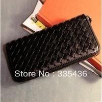 European style luxurious and fashion design,2013 knitting women wallet.Black zipper purse.1 pcs free shipping