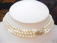3 Strand 7-8MM White Pearl Choker Necklace Fashion jewelry