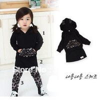 TZ-099,Freeshipping 2013 New baby set fashion girl's leopard clothing set tops+skirt+leggings 3pcs autumn children wear Retail