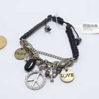 peace and love stone charm shambala bracelet handmade cord stretchy jewelry, Min. order $15 is required for each shipment