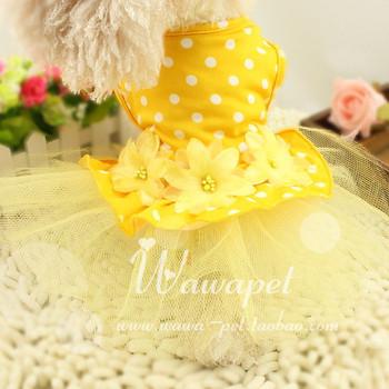 Pet toy teddy vip dog summer clothes puppydom milk dog skirt elegant pink princess